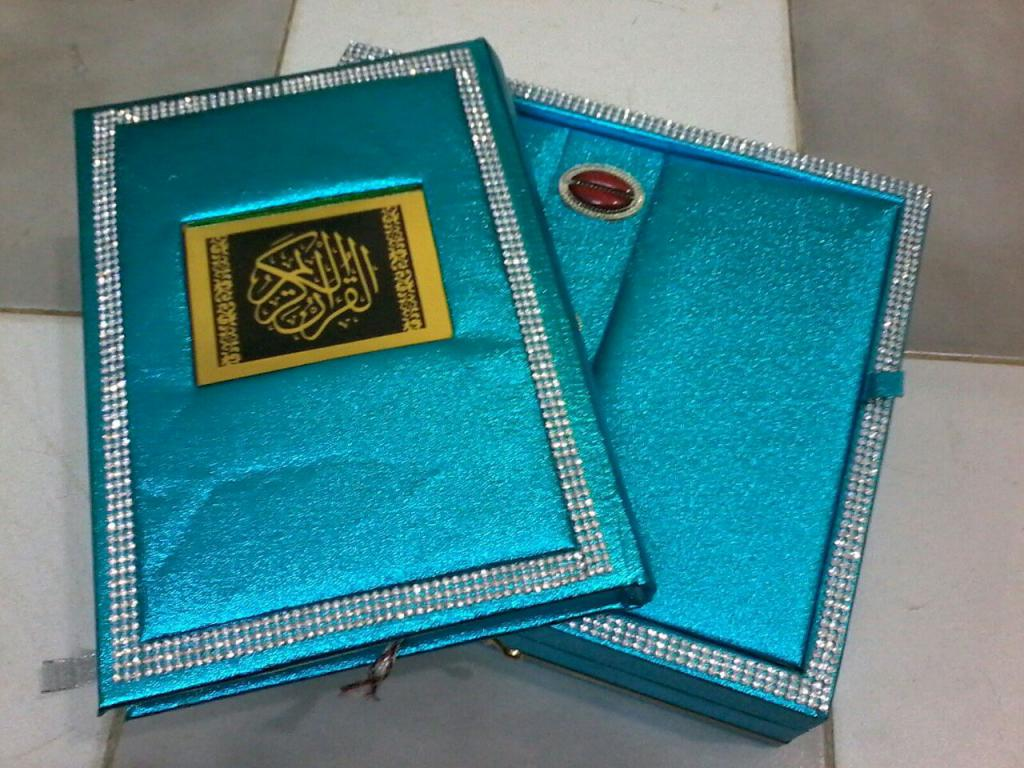 Quran With Fancy Box Blue Color